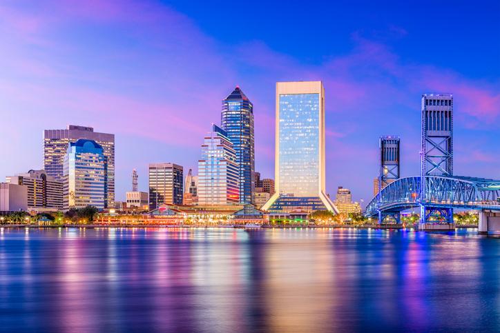 Jacksonville, Florida, USA skyline on the river at twilight.